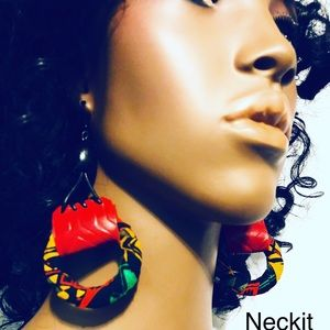 neckit Jewelry - Afrocentric Leather and Fabric Hoop Earrings